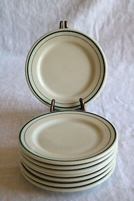 "Syracuse O.P.Co Onondaga Pottery Co Restaurant 2 Green Bands 6 3/8"" Pie Plates 8"