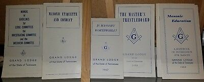 Lot of 6 Pamphlets Booklets Published by Tennessee Masonic Grand Lodge 1966-1972