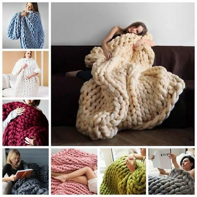 2018 MultiColor Große Warme Knitted Strickdecke Thick Garn Wolle Bulky Chunky