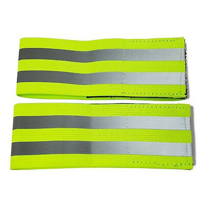 2 Pack - Hi Vis Reflective Arm / Ankle Band -  Run Night Safety Yellow Armband