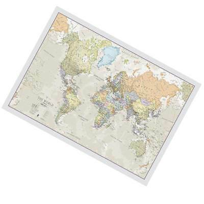 Classic World Map Big Giant Wall Print Large Wallpaper Front Laminated Coloured