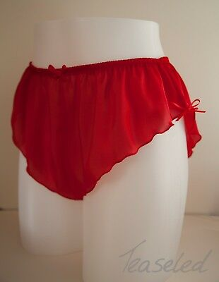 French Knickers Silky Satin Panties mini Made in UK - Black red white grey +