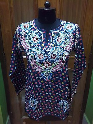 "100% Cotton Top Blouse S 38"" Ethnic Handmade Needle Work Embroidery Kurta Tunic"
