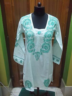 Blouse Top Xs 37 Ethnic 100% Cotton Handmade Chikan Embroidery Tunic Kurta Kurti