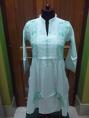 100% Cotton Blouse Xs 36 Ethnic Chikan Embroidery Top Handmade Kurta Kurti Tunic