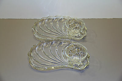 Two Crystal Colonial Swirl Shell Snack Sets - Hazel Atlas Glass Company