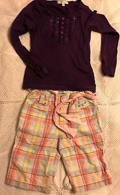 Girls purple top and pink check pants by Joules age 8