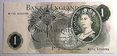 Bank Of England 1 Pound Note - Serial # ( W13E 526689 )  Nice Note $$$$$$$