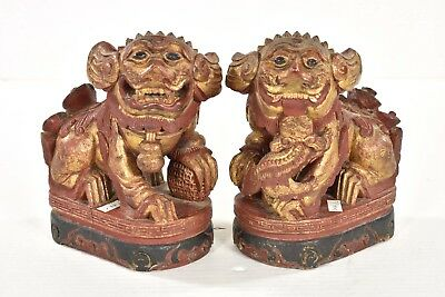 Pair of Antique Chinese Red Gilded Wood Carving / Carved Statue Foo Dog, 19th c