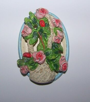 Antique /Vintage DOOR KNOCKER Pink ROSES in a BASKET Cast Iron Unmarked Hubley?