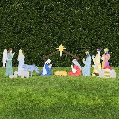 Outdoor Nativity Set Scene Figures Stable Animals Colors Church Full Yard Decor