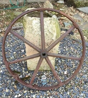 "36"" Antique Industrial Cast Iron Machine Age Pulley Steampunk Table Top Vintage"