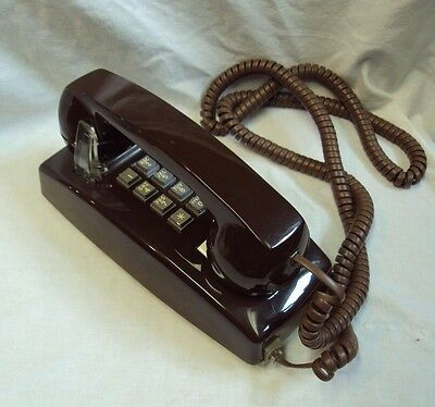 CORTELCO Single Line / Push Button WALL TELEPHONE Made in USA ~ BROWN Long Cord