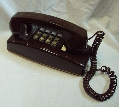 CORTELCO Single Line / Push Button WALL TELEPHONE Made in USA ~ BROWN Short Cord