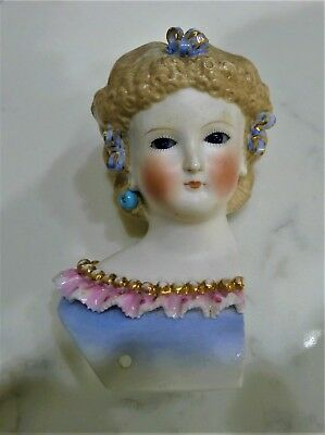 Antique Bisque Parian Fancy Lady Woman Doll Head-Beautiful But Damaged-As Is