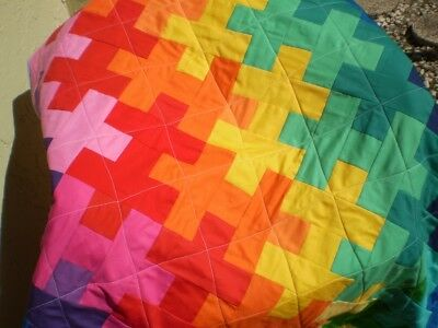 Handmade Baby quilt,baby girl or boy quilt,crib quilt,toddler-Rainbow Puzzle