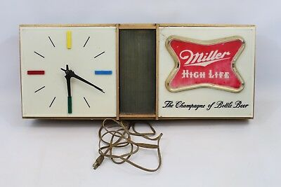 VINTAGE MILLER HIGH LIFE RETRO 1960'S LIGHTED CLOCK SIGN. WORKS W some Cracks