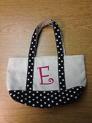 "Small Kids Heavy Duty Polka-Dot Canvas Beach Tote with ""E"" Initial"