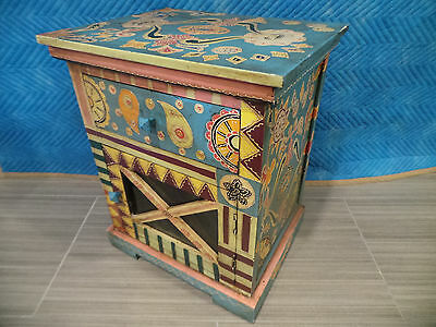 """24""""h Made India Hand Painted Drawer Night Stand Case Cabinet Decorative Table"""