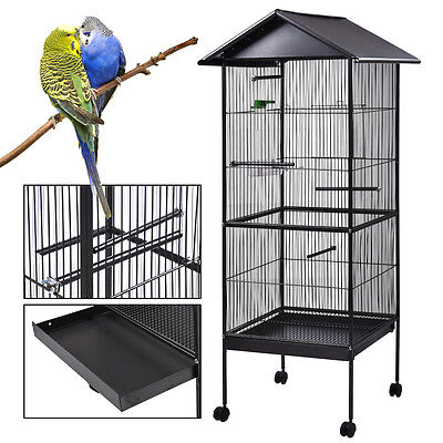 "61"" Iron Parrot Finch bird Cage Play Top Pet Supplies w/Perch Stand Two Doors"