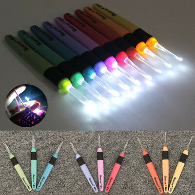 9Sizes LED Crochet Hooks Set Light up Knitting Needles Weave Sewing Tools Craft
