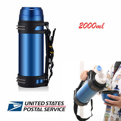 2L large Capacity Outdoor Travel Vacuum Cup Thermos Water Flask Bottle 6-24Hrs