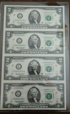 UNCUT SHEET OF FOUR Series 2003A CU $2 Federal Reserve Notes FRB L San Francisco