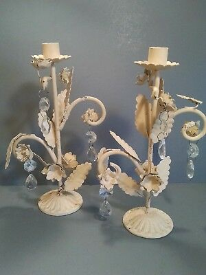 Shabby Chic Metal Candle Sticks Leaves Roses Faux Crystals Cream French Country