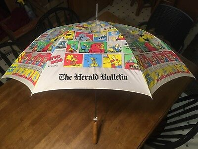 Vtg Comic Strip The Herald Bulletin Umbrella Anderson IN Newspaper Wood handle