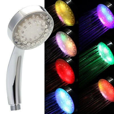 7 Colors Glow LED Light Water Saving Shower Head Ionic Handheld Home Bathroom