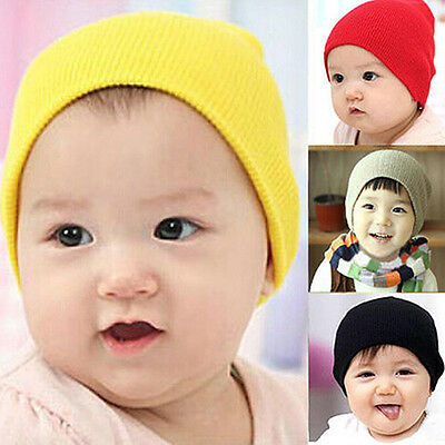 BU_ Cute Newborn Baby Boy Girl Kid Winter Warm Knitted Crochet Cap Hat Beanie Vo