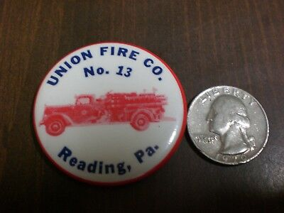 "Vintage ""union Fire Co. 13 Reading,pa."" Pin Back Button Rare Fire Truck Nice"