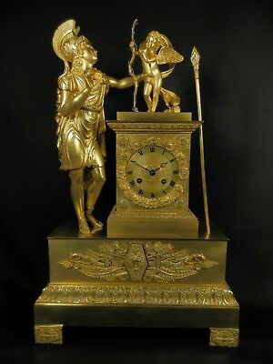 Large Antique French Gilt BronzeClock with Roman warrior  and angel ca 1830