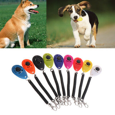 Clicker Training Pets Wrist Spring Obedience Aid Strap Button Dogs Puppy Agility