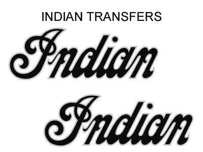Indian Tank Transfer Decal American Motorcycle Pair D509126 Silver Black