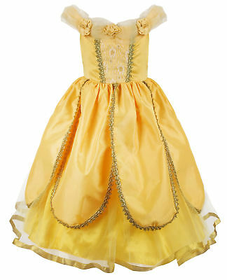 Girls Princess Belle Costumes Dress Fancy Cosplay Yellow Party Ball Gown Dress