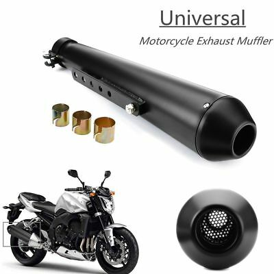 "17.5"" Motorcycle Cafe Racer Exhaust Muffler Pipe Silencer Sliding Bracket Black"