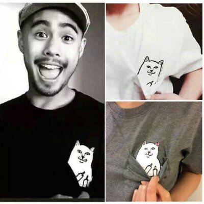 Personality Men Women Funny Pocket Cat Cute Kawaii Couples T Shirt Tops YW