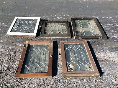 5 Vintage Leaded Glass Windows - Wood Frames - Good