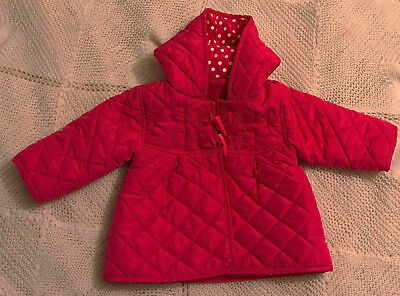Girls fuschia pink quilted hooded coat by George age 0/3 months