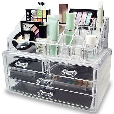 Acrylic Jewelry Cosmetic Organizer 2/3/4 Drawers Makeup Case Storage Holder Box#