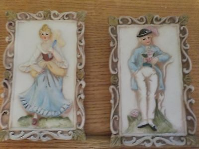 2 A Pair of  Small Victorian Porcelain Wall Pictures