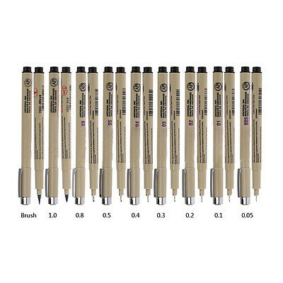 8 Pcs Sakura Pigma Micron Fine Line Pen 005 01 02 03 04 05 08 BRUSH Arts#^
