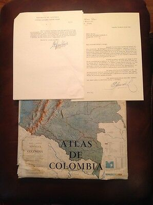 Rare Atlas De Colombia  First Edition, + Documents Signed By The The Author