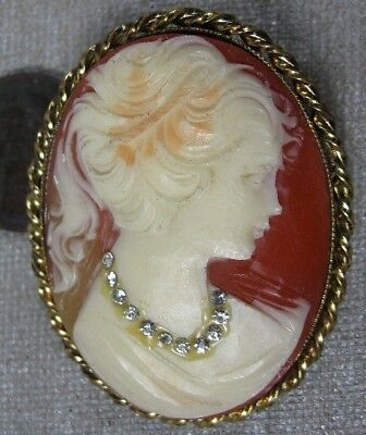 Vintage 1950's Goldtone Cameo Lady With Rhinestones Pin Western Germany
