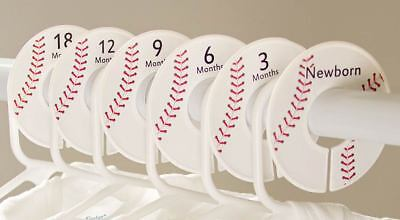 """6 boy baseball baby closet dividers clothes separator organizers Fit 1.25"""" rod"""