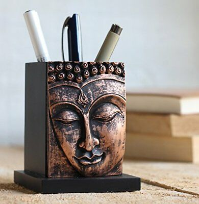 Christmas Gifts Buddha Pen Pencil Holder stand Wood Design for Desk Office and