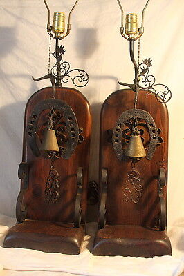Vintage Pair Country Primitive Wrought Iron Lamps Rooster Horseshoe Cow Bell