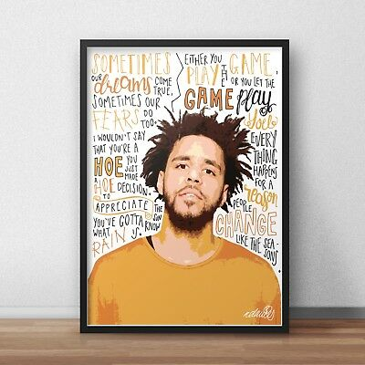 J Cole INSPIRED WALL ART Print / Poster A4 A3 HIP HOP Lyrics / Rapper