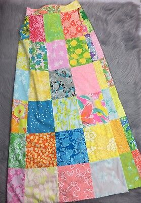 Vtg Womens 60s Lilly Pulitzer Multi Colored Reversible Wrap Patchwork Maxi Skirt